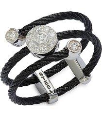 alor women's 18k white gold, stainless steel, & diamond ring/size 7 - size 7