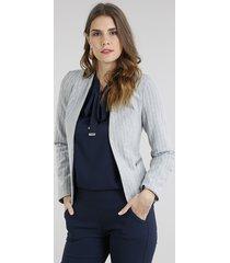 blazer feminino listrado com zíper cinza mescla