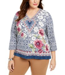 alfred dunner plus size autumn harvest embellished printed top