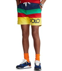 polo ralph lauren men's 6-inch striped fleece shorts