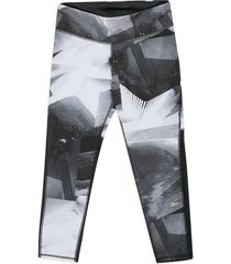 leggings negro-gris-blanco reebok tight - aop