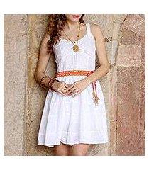 cotton dress, 'snow white blossoms' (india)