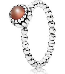 anel de prata pontos com cornalina - julho