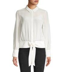 kobi halperin women's bernadette silk chiffon blouse - black - size m