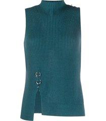 diesel blusa de tricô canelado com detalhe de argola - azul