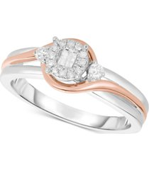 diamond two-tone promise ring (1/6 ct. t.w.) in sterling silver & 14k rose gold-plated sterling silver