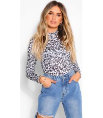 floral high neck long sleeve top, black