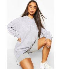 oversized hoodiemet print voor dames, grijs gemêleerd