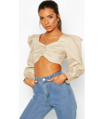 petite poplin volume sleeve button front crop top, ecru
