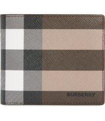 burberry check e-canvas international bifold wallet in dark birch brown at nordstrom