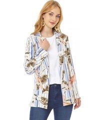 blazer básico print mujer celeste tropical corona