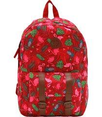 mochila clio style flamingo vermelha