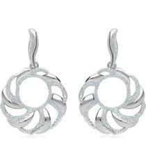 orecchini pendenti in ottone rodiato forma tonda con glitter per donna