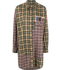 mcq patchwork plaid shirt dress - green