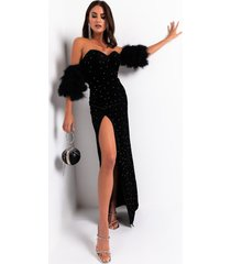 akira the time is right faux fur puff sleeve side slit maxi dress