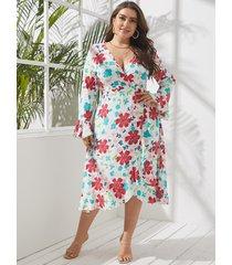 abrigo con estampado floral y cuello en v de talla grande diseño mangas largas vestido