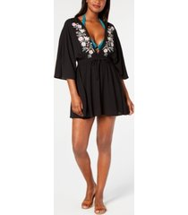 miken juniors' embroidered kimono cover-up women's swimsuit