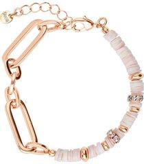 bracciale in ottone rosato con elementi conchiglia rosa e strass per donna