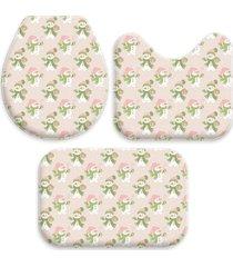 jogo tapetes love decor para banheiro natal bonecos de neve rosa bebe