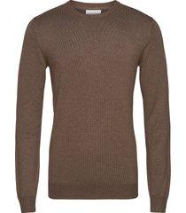 mélange round neck knit stickad tröja m. rund krage brun lindbergh
