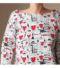 bluza pudełko tunika w zakochane koty