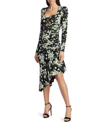 michael kors women's floral ruched midi dress - lemon - size 4