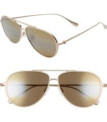 men's maui jim shallows polarizedplus2 59mm aviator sunglasses - satin gold