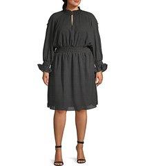 plus dot-print knee-length dress