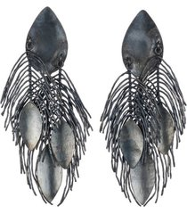 brass metallic peacok feather clip earrings, women's, josie natori