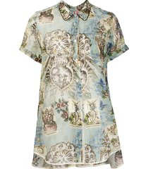 f.r.s for restless sleepers printed high-low hem blouse - blue