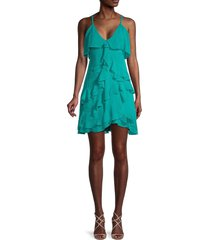 alice + olivia by stacey bendet women's lavinia ruffle dress - turquoise - size 2