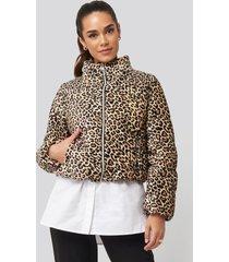trendyol zipper leopard pattern velvet crop jacket - multicolor