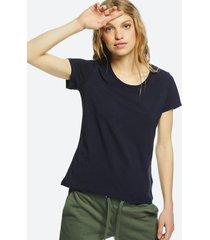 t-shirt i bomull med rund hals - mörkblå