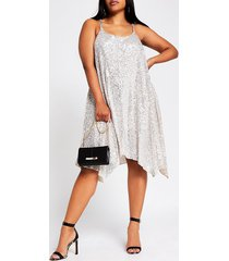 river island womens plus silver sequin cami dress