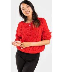 jacynda balloon sleeve sweater - red