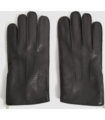 reiss iowa - leather zip detail gloves in black, mens, size xl