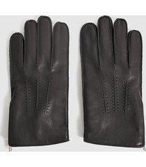 reiss iowa - leather zip detail gloves in black, mens, size xl