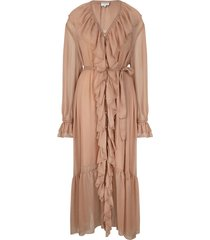 maxi-jurk met ruches royalty  nude
