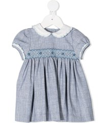 siola embroidered waist peter pan collar dress - blue