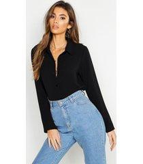 geweven blouse, zwart