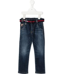 lapin house belted straight-leg jeans - blue