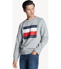 tommy hilfiger men's logo flag sweatshirt sport heather grey - xs