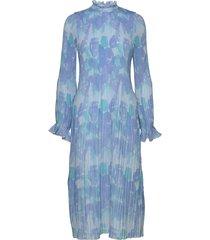 pleated georgette jurk knielengte blauw ganni