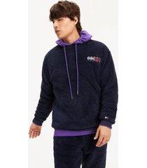 tommy hilfiger men's plush fleece sweatshirt black iris - xxl