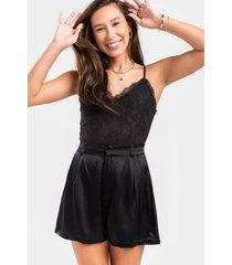 avie high waist satin shorts - black