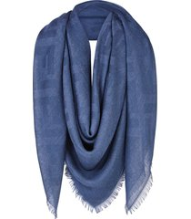 fendi ff monogram shawl - blue