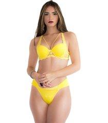 conjunto imi lingerie strappy bra em microfibra lãzia amarelo - amarelo - feminino - dafiti