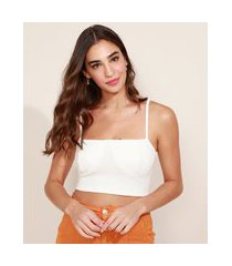 top cropped feminino alça fina decote reto off white