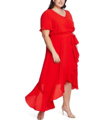 plus size women's cece ruffle belted high/low dress, size 22w - red