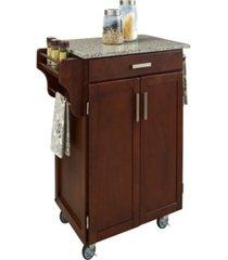home styles cuisine cart cherry finish salt and pepper granite top